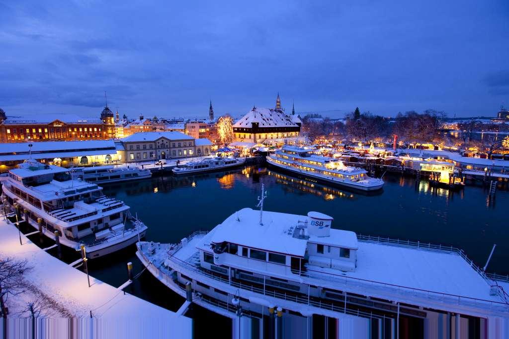 Winterschiffe im Konstanzer Hafen | Bildnachweis: Internationale Bodensee Tourismus GmbH | Achim Mende